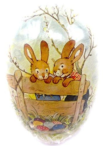 Easter Egg Treat Filling Container,2 Easter Rabbit Brothers on Fence with Basket of Easter Eggs,6