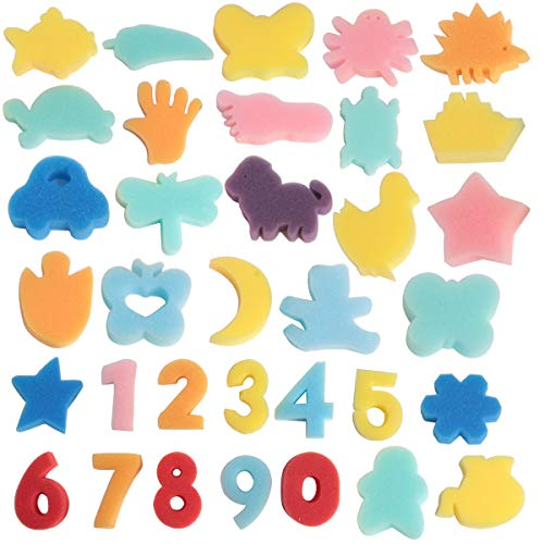 (SBYURE 34 Pcs Sponge Painting Shapes Animal Shapes Painting Craft Sponge Multicolor Foam Painting Stamps Assorted Sponge Brush Set Painting Drawing Tools for Kids)
