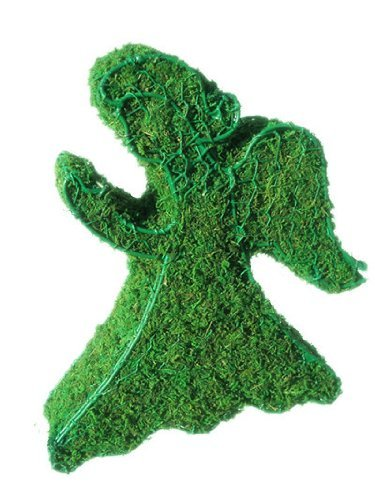 Angel 10 inches high w/ Moss Topiary Frame , Handmade Animal Decoration by S.K 703 Topiary Inc.