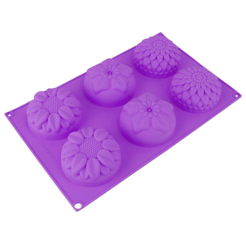 Pieces 6 Cavity Silicone Flower Soap Mold Chrysanthemum Sunflower Mixed Flower shapes Cupcake Backing mold Muffin pan Handmade soap silicone Moulds Peicees xj347