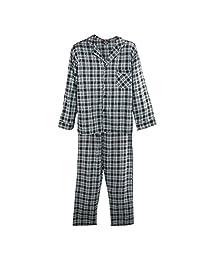 Hanes Men's Cotton Flannel Pajama Set, XXL, Black Plaid