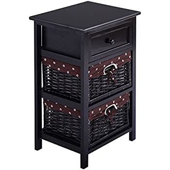 Amazon.com: Giantex White Night Stand 3 Tiers 1 Drawer