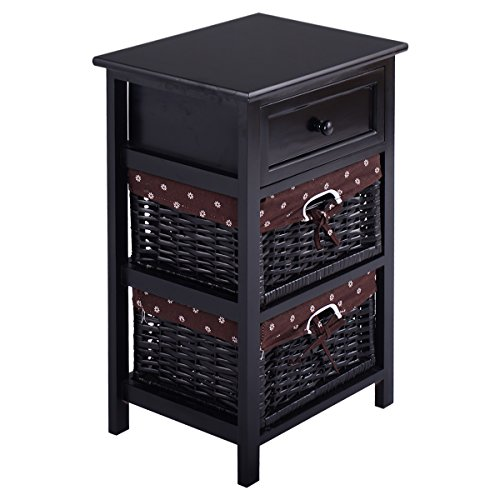 Giantex Black Night Stand 3 Tiers 1 Drawer Bedside End Table Organizer Wood W/2 Baskets (Black)