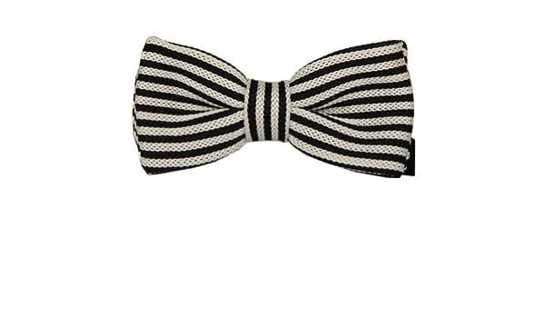 Enwis Men Bowtie Bow Tie Double Layer Knit Knitted Pre Tied Beige Black Pattern