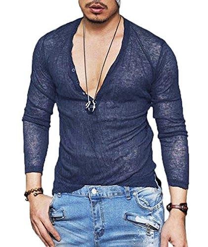 - COOFANDY Men's Sexy See Through T Shirt Mesh Henley Shirt Deep V Neck Undershirts Long Sleeve Clubwear, Navy Blue, Medium, Navy Blue, Medium