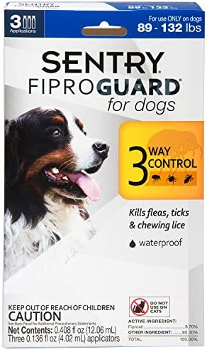 SENTRY Fiproguard for Dogs, Flea and Tick Prevention for Dogs (89-132 Pounds), Includes 3 Month Supply of Topical Flea Treatments