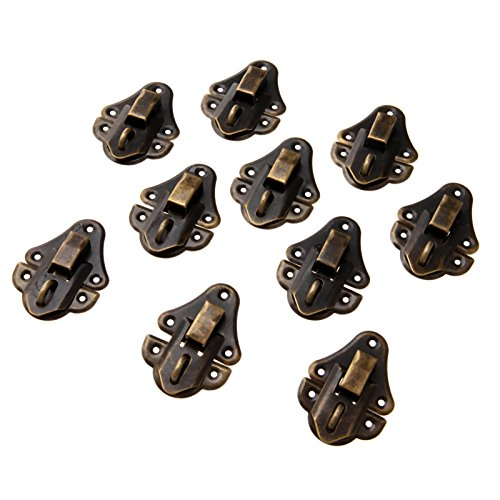 (Dophee 10Pcs 48x35mm Vintage Decorative Cabinet Latches Hasp Pad Lockable Clasp for Jewelry Wooden Box Case Chest)