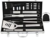 ROMANTICIST 21Pc Heavy Duty Stainless Steel BBQ Grill Tool Accessories Set - Outdoor Camping Barbecue Grilling Utensils Gift Kit with Aluminum Case for Men