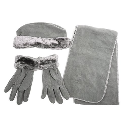 Junior's Fur Trimmed Cloche with Matching Gloves