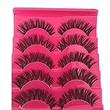 UNKE 5 Pair Fashion Natural Dense Handmade Long False Black Eyelashes