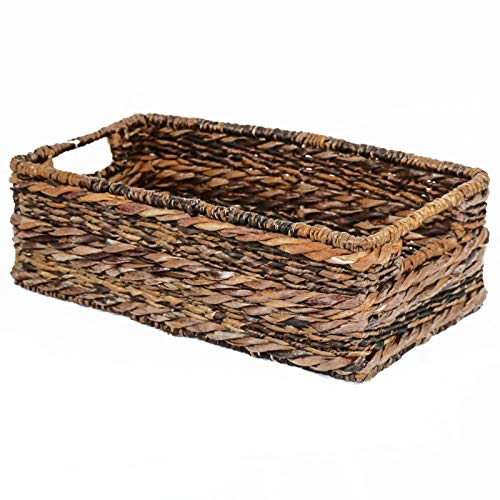 Abaca Basket - Adrian Long Rectangle Basket- Tank Tray, Basket, Organizer, Bin, Tote, Container- Great for use on Vanity, in bathrooms, on top of Toilet Tank and counters