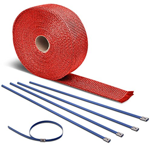 7.5-Meter Red Exhaust Heat Wrap+Blue Zip Tie for Header/Catback/Turbo Manifold/Downpipe