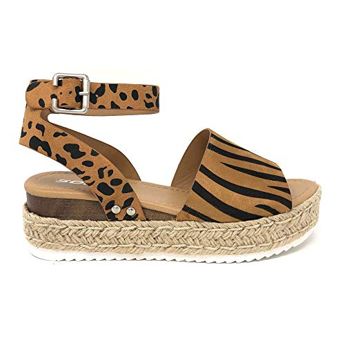 SODA Topic Casual Espadrilles Trim Rubber Sole Flatform Studded Wedge Buckle Ankle Strap Open Toe Sandal (9 M US, - Fashion Tigers Pack