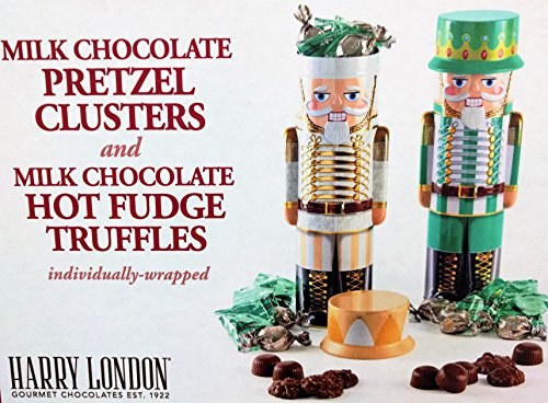 Harry London Gourmet Chocolates Decorative Collectible Nutcracker Holiday Tins Filled with Milk Chocolate Pretzel Clusters & Hot Fudge Truffles Individually Wrapped Set of 2 (Gold & (London Milk Chocolate)