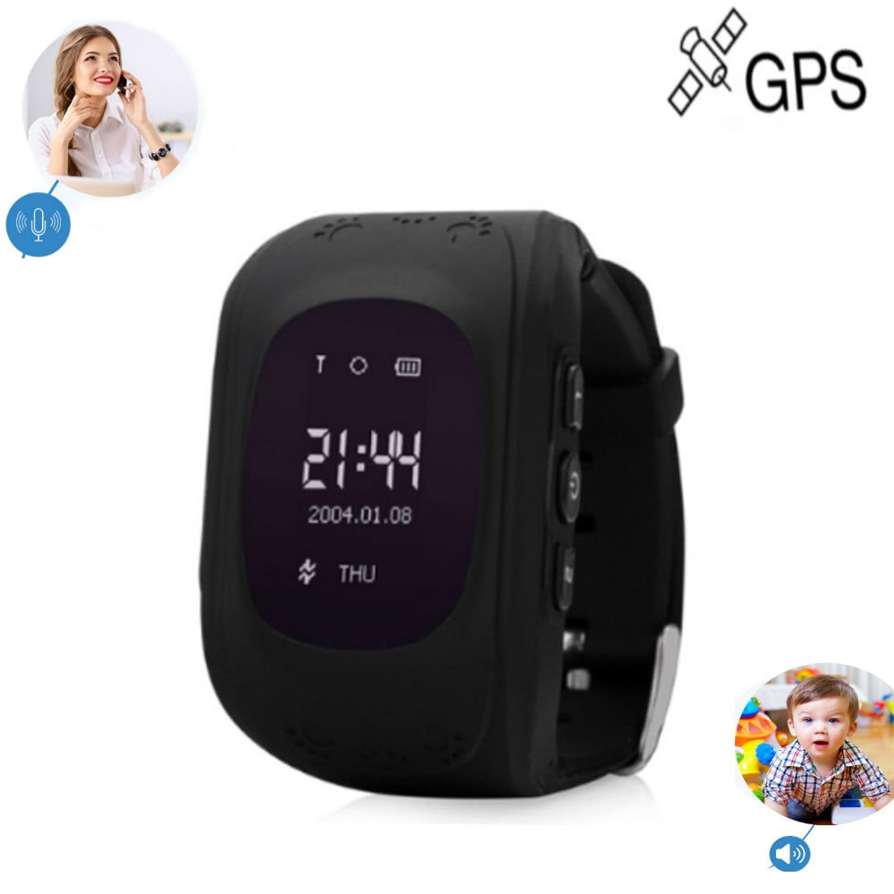 TKSTAR GPS/GSM Tracker Watch for Kids Children Smart Anti-Lost Wrist Watch Bracelet Pedometer Sleep Tracker App for All Smartphone GSM Track without Sim Card Q50 (Black)