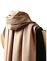 ZHHBeaty Fashion Pure Color Warm Wool Silk Soft Unisex Cashmere Blanket Scarf Women Solid Color Long Winter Stole Cashmere Wrap Shawl Scarf for Anniversary Birthday Wedding Christmas Gifts (Camel)