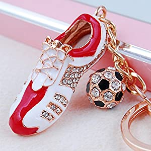 Soccer Shoe & Ball Key Chain with Two Rings - Stunning Design - Gold Rings with Beautiful Red White Black Cleat - Hint of Sliver Sparkles