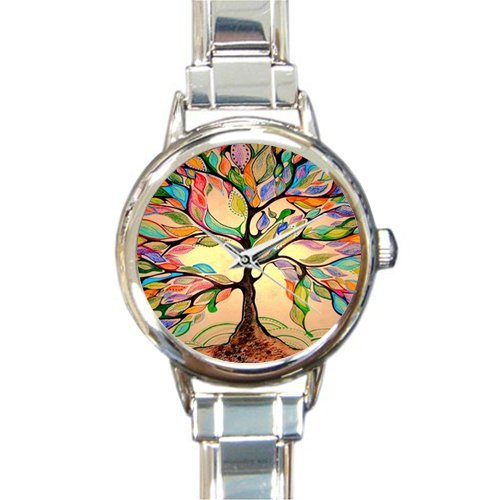 Special Design Beautiful Art Tree, Tree of Life, Valentine's Day Gift Round Italian Charm Watch
