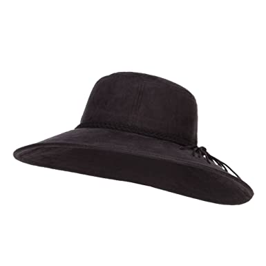 Wide Brim Poly Suede Hat - Black OSFM at Amazon Women s Clothing store  1621cebe059