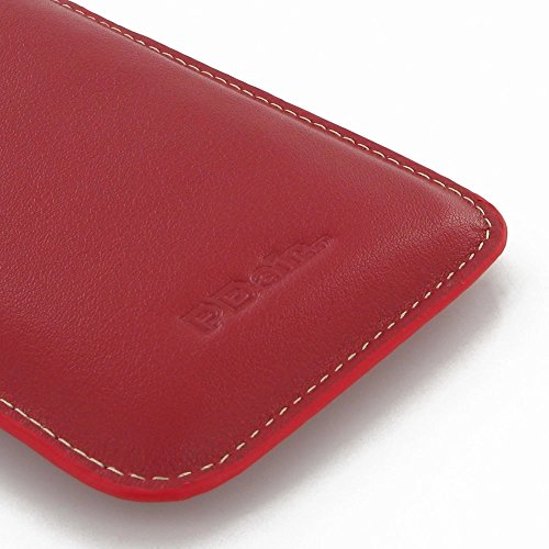 Apple iPhone 7 Plus Case, Leather Case, Pouch, Holster, Wallet Case, Protective Case, Phone Case - Leather Vertical Sleeve Pouch Case (Red) by Pdair