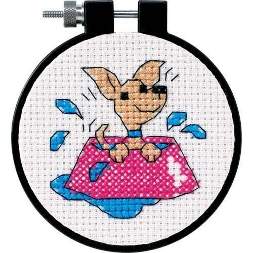 """Learn-A-Craft Perky Puppy Counted Cross Stitch Kit-3"""" Round"""