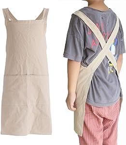 losofar Children Cotton Cross Back Apron Japanese Style Bib Home Clothes Painting Soft Comfort Pinafore Apron for Girls Boys (Khaki, 21.6×21.6inch)