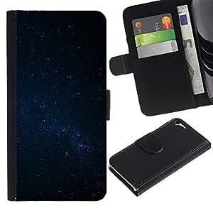 Apple iPhone 5 / iPhone 5S Modelo colorido cuero carpeta tirón caso cubierta piel Holster Funda protección - Night Sky Stars Milky Way Galaxy