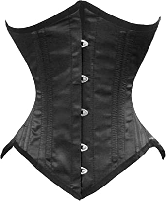 Double Steel Boned Heavy Duty Waist Trainer Body Shaper Leather Over Bust Corset