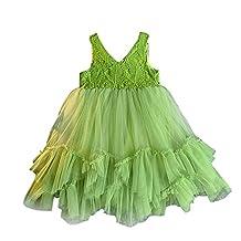 Little Girls Kids V-Neck Tulle Dress Green