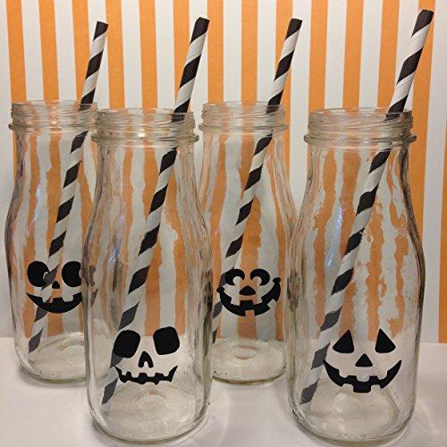 Piece of Cake Parties Halloween Vinyl Decals, Jack O'Bottle, Set of (Milk Bottle Halloween Lanterns)
