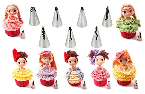 New Ball Russian Stainless Steel Tips Tulip Sphere Whip Cream Buttercream Icing Piping Nozzles DIY Baking Tools Small Torch for Decoration Cupcake Fondant Cake or any Pastry (7 pcs dress ruffle tips)