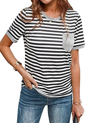 Epuyaito Women Stripe Crew Neck Short Sleeve Patch Pocket Contrast Color T-Shirt