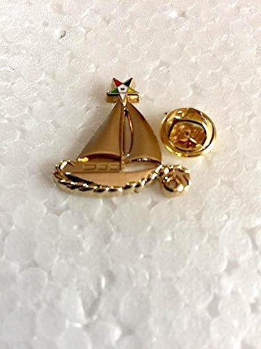 (OES Masonic SailBoat Sisters Adorn Golden Metallic Lapel Pin with Clasp On Back)
