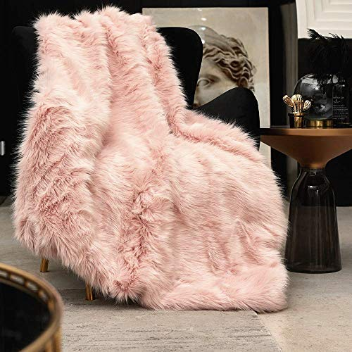 Pink Faux Fur Throw Blanket, Luxury Modern Blush Home Throw Blanket, Super Warm, Fuzzy, Elegant, Fluffy Thick Heavy Decoration Blanket Scarf for Sofa, Couch and Bed, 60''x80'' (Bedding And Navy Blush)