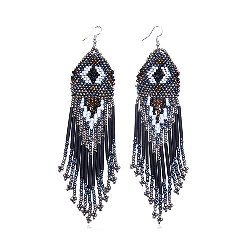 Royalbeier Women's Beaded Earrings Bohemian Multicolour Beaded Tassel Drop Dangle Earrings Handmade Statement Chandelier (Black) ()