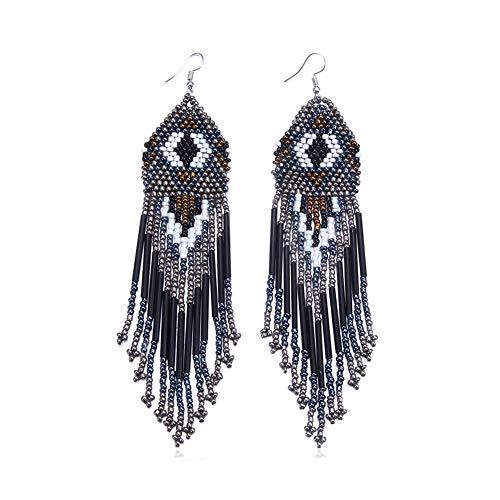 Beaded Chandelier Dangle - Royalbeier Women's Beaded Earrings Bohemian Multicolour Beaded Tassel Drop Dangle Earrings Handmade Statement Chandelier (Black)