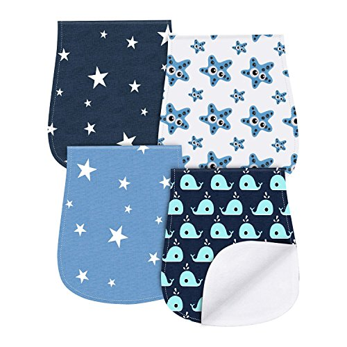 Boy Rag - Baby Burp Cloths 4 Pack Triple Layer Burping Rags Soft and Absorbent for Boys Girls by YOOFOSS