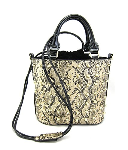 Best Ny Collection Snake Print Studded Tote Satchel Large Women's Purse Top Handle With Removable Large Drawstring Handbag (gold)