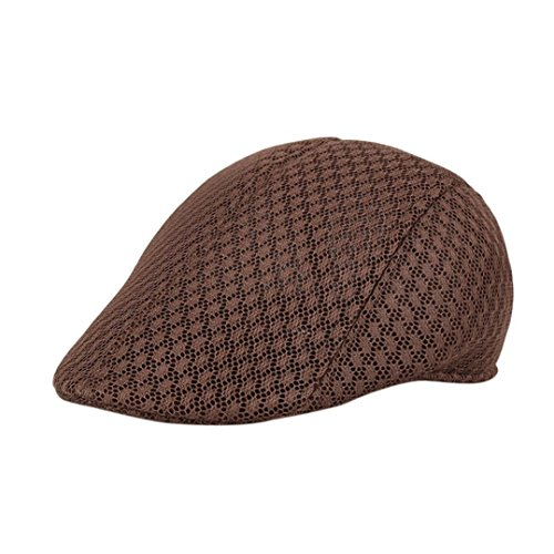 (Iuhan Men Breathable Mesh Sunhat Handsome Newsboy Hats Casual Beret Caps (Coffee))