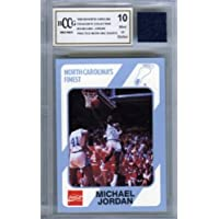 $59 » 1989 UNC #14 Michael Jordan Rookie with Piece of Authentic Worn UNC Shorts Graded BGS…