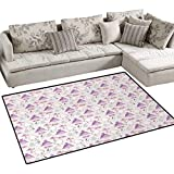 Swan,Rug,Princess Dress Gown Magic Shoes Mirror and Cute Swans with Tiaras Pattern,Floor Mat for Kids,Lavander Blush White,36''x60''