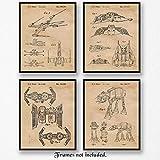 Original Star Wars Patent Art Poster Prints - Set of 4 (Four Photos) 8x10 Unframed - Great Wall Art Decor Gift for Home, Office, Studio, Garage, Man Cave, Student, Teacher, Movies Fan