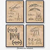 Original Star Wars Patent Art Poster Prints - Set of 4 (Four Photos) 8x10 Unframed - Great Wall Art Decor Gift for Home, Office, Studio, Garage, Man Cave, Student, Teacher, Movies Fan