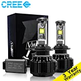 CougarMotor LED Headlight Bulbs All-in-One Conversion Kit - H7 -7,200Lm 60W 6000K Cool White CREE - 3 Year Warranty
