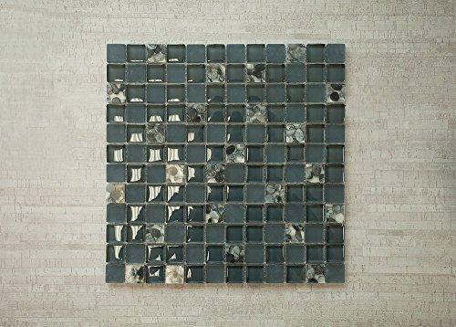 "Stormy Sea 1""x1"" - Grey & Black Glass Mosaic Tile"