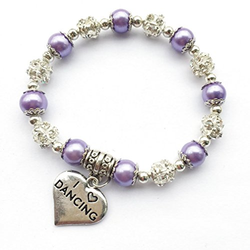 7 inches I Love Dancing Bracelet for Ballerina Dance Lover Team Dancer Purple