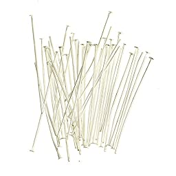 200pc Silver Plated Solid Brass Head Pins-Jewelry Making- (2 inch (50mm), 21 gauge Silver)