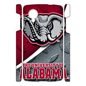 Generic Custom Unique Design NCAA University of Alabama Crimson Tide Team Logo Plastic Case Cover for Google Nexus5 (3d)
