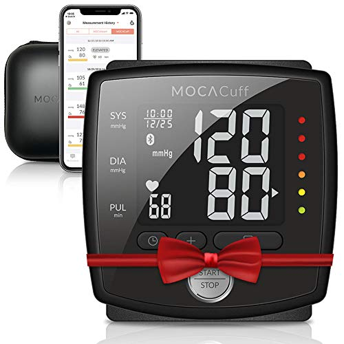 MOCACuff Bluetooth Blood Pressure Monitor,Wireless Fully Automatic Accurate Wrist Blood Pressure Monitor Cuff[Portable] with Protector Case and Tracking App for Apple and Android (Black)