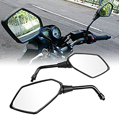OKSTNO Heavy Duty Motorcycle Rear View Side Mirrors-10mm Clockwise Threaded Mounting Bolt-Fits for Kawasaki, for Suzuki, for Honda, for Victory and More-Pair: Automotive